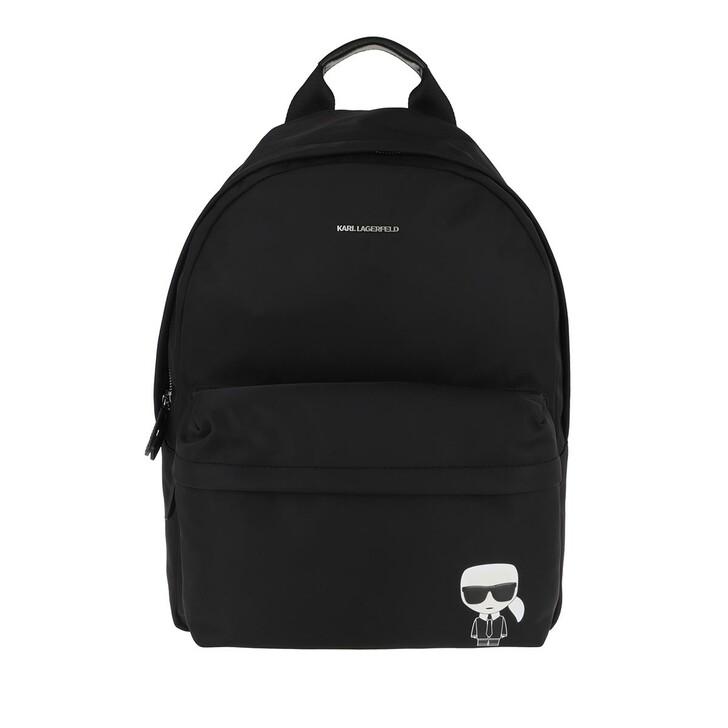 bags, Karl Lagerfeld, Karl Ikonik Nylon Backpack Black