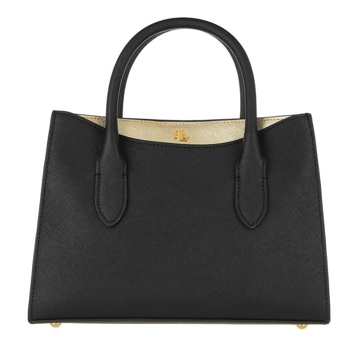 bags, Lauren Ralph Lauren, Emery 25 Satchel Small Black/Antique Gold