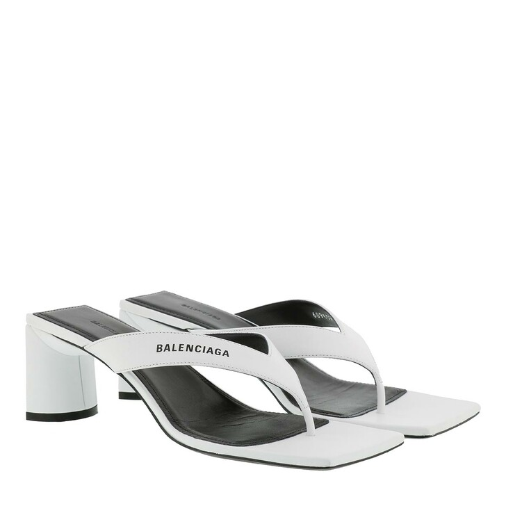 shoes, Balenciaga, Double Square Sandal Leather White/Black