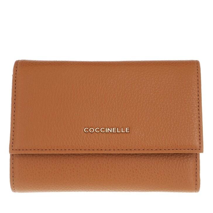 wallets, Coccinelle, Metallic Soft Wallet Caramel