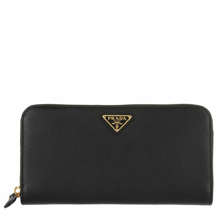 Geldbörse, Prada, Classic Zip Wallet Saffiano Logo Triangolo Nero