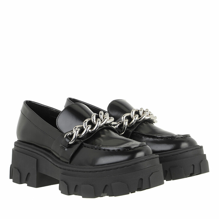 Schuh, The Kooples, Ice Leather Moccasins with Large Chain Black