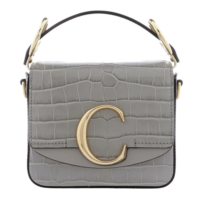 bags, Chloé, C Shoulder Bag Leather Stormy Grey
