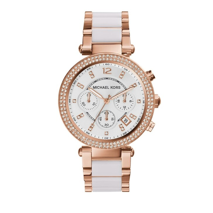 Uhr, Michael Kors, Ladies Parker Chronograph Two-Tone Stainless Steel Rose Gold