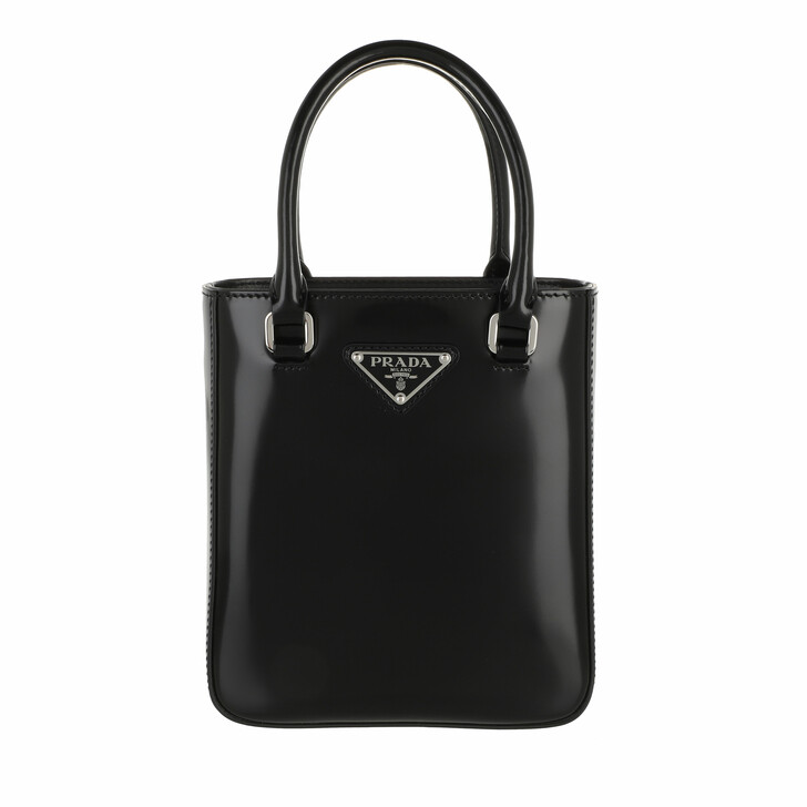 bags, Prada, Small Tote Bag Brushed Leather Black