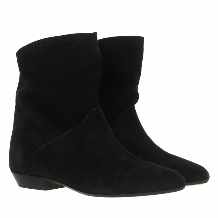 shoes, Isabel Marant, Solvan Ankle Boots Suede Leather Faded Black