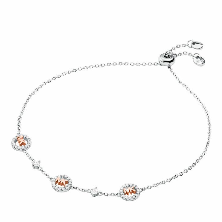 bracelets, Michael Kors, Two-Tone Logo Slider Bracelet  Sterling Silver