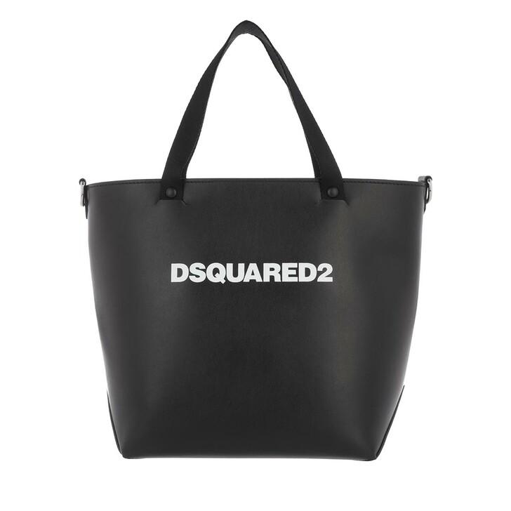 Handtasche, Dsquared2, Logo Print Bucket Bag Black