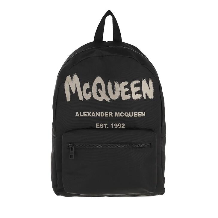 bags, Alexander McQueen, Metropolitan Graffiti Backpack Black/Ivory