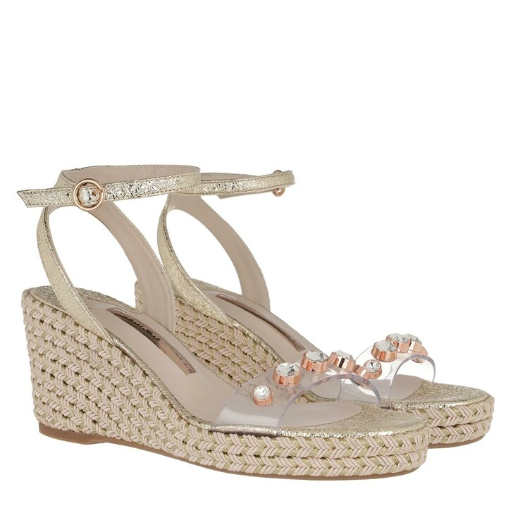 Schuh, Sophia Webster, Dina Gem Mid Espadrille Gold Crackle & Clear