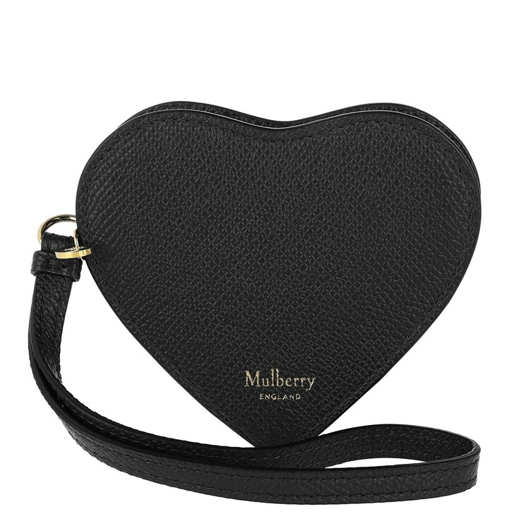 Geldbörse, Mulberry, Heart Coin Zip Purse Grain Black