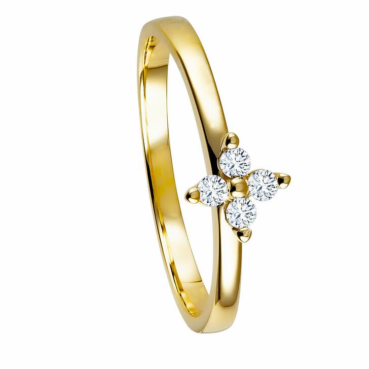 rings, diamondline, Ring 375 4 Diamonds total approx. 0,10 ct. H-si  Yellow Gold