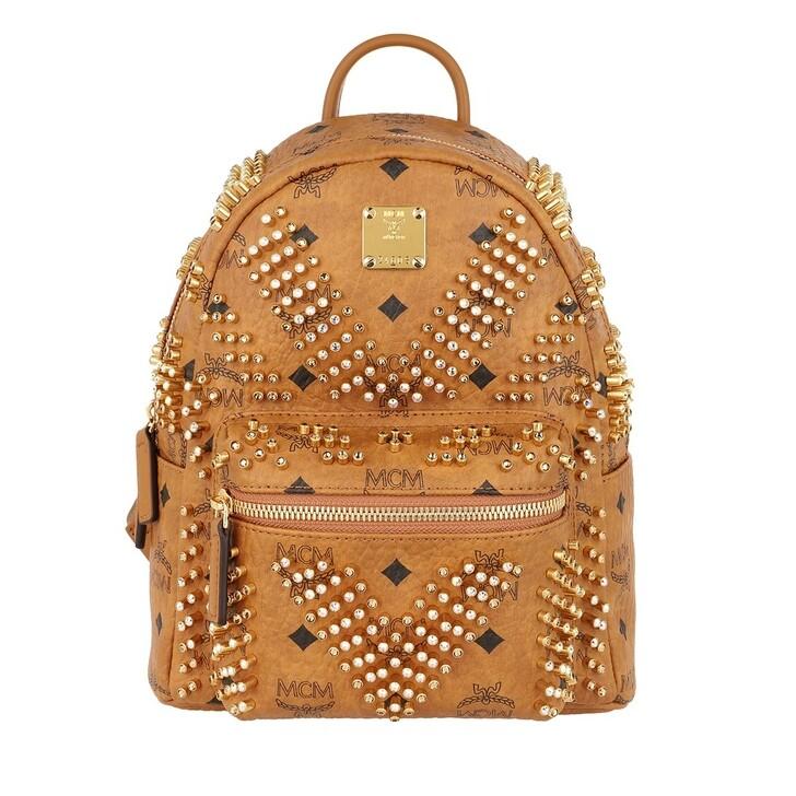 Reisetasche, MCM, Stark Studs Backpack Cognac