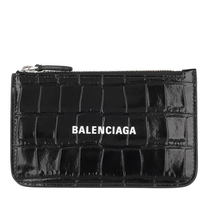 Geldbörse, Balenciaga, Cash Long Coin Card Holder Crocodile Embossed Back/White