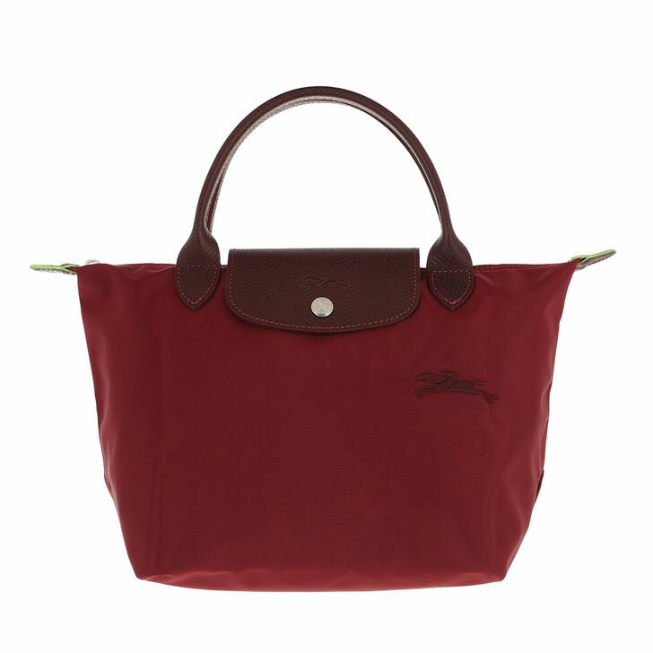 bags, Longchamp, Le Pliage Green Handbag Red