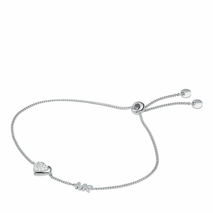 Armreif, Michael Kors, Sterling Silver Pavé Heart Slider Bracelet Silver