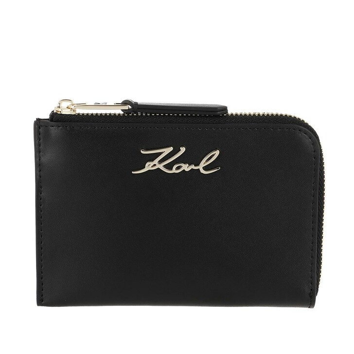 Geldbörse, Karl Lagerfeld, Signature Zip Card Holder Black