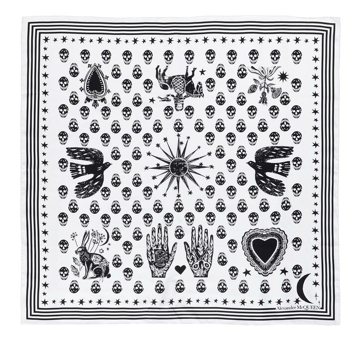scarves, Alexander McQueen, Mystical Biker Scarf Ivory/Black