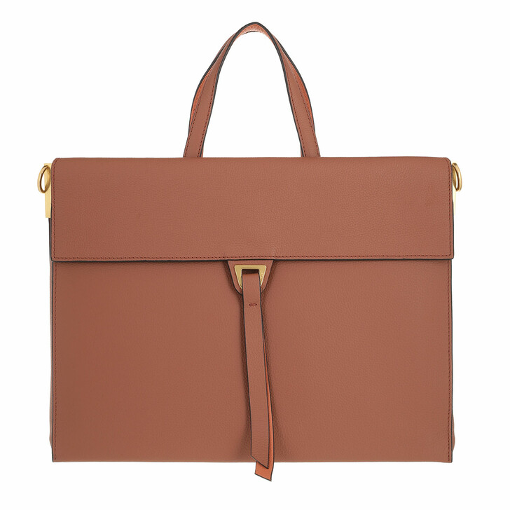 bags, Coccinelle, Louise Handbag Double Grainy Leather Cinnamo/Chestnu