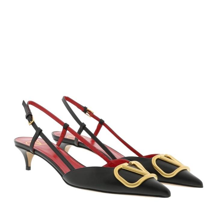 shoes, Valentino Garavani, V Slingback Pumps Leather Black