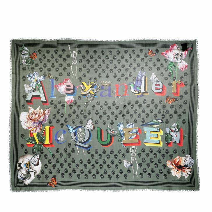 scarves, Alexander McQueen, Biker Shawl Loden/Black