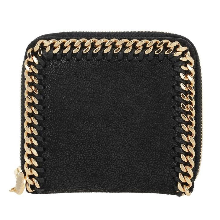 Geldbörse, Stella McCartney, Falabella Shaggy Small Zip Wallet Leather Black
