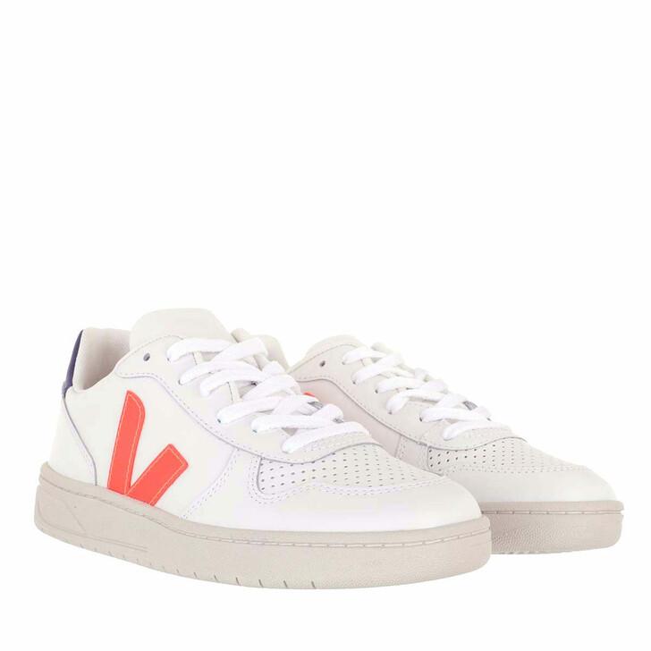Schuh, Veja, V-10 Leather Extra White Orange Fluo Cobalt