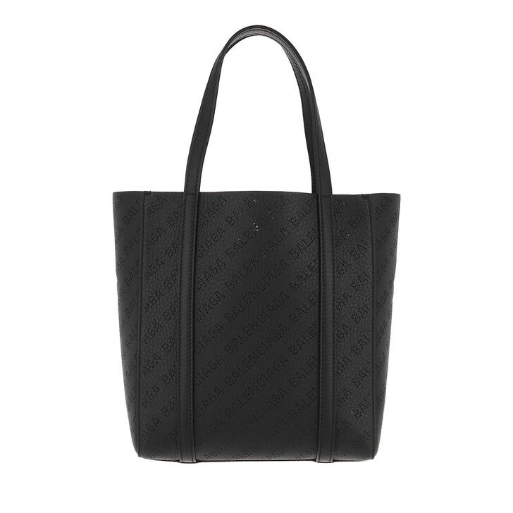 Handtasche, Balenciaga, Everyday Allover Logo Tote Bag Smooth Calfskin Black