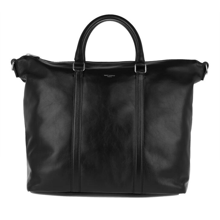 Handtasche, Saint Laurent, Duffle Supple Sac De Jour Leather Black