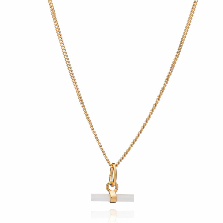 necklaces, Rachel Jackson London, Mini Mother of Pearl T-Bar Necklace Gold