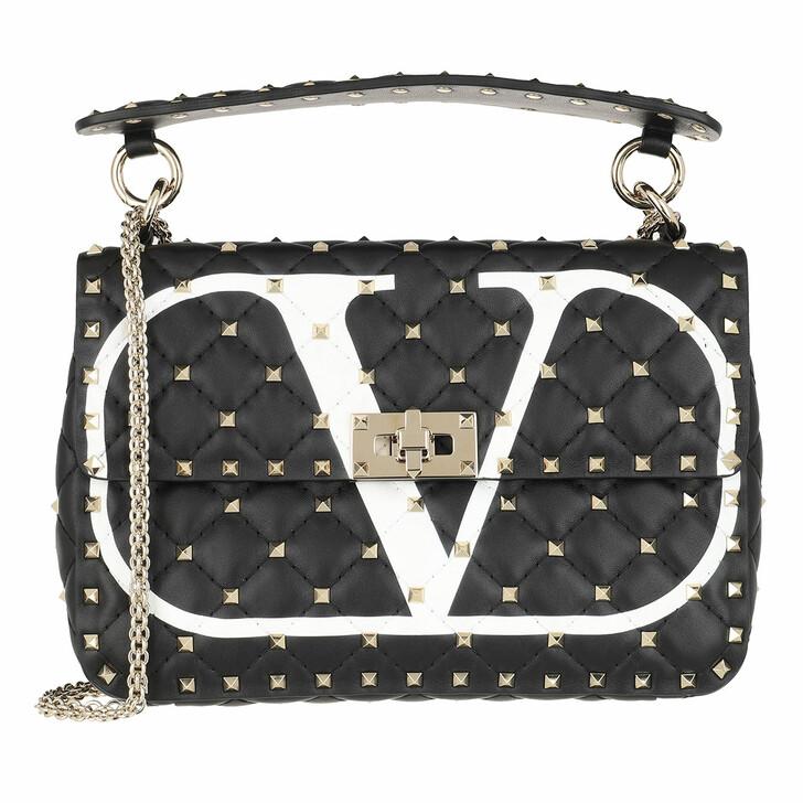 Handtasche, Valentino Garavani, Rockstud Spike Handle Bag Leather Black