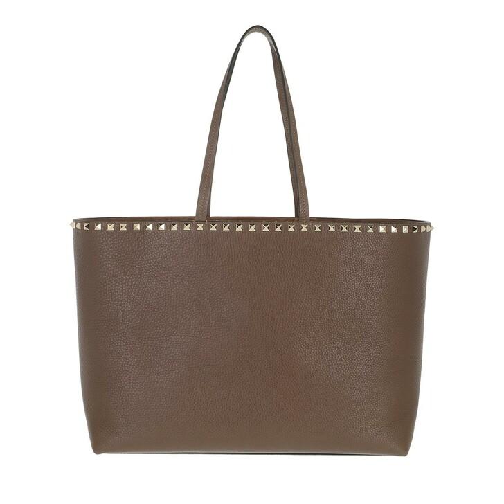 Handtasche, Valentino, Rockstud Shoulder Bag Leather Deep Taupe