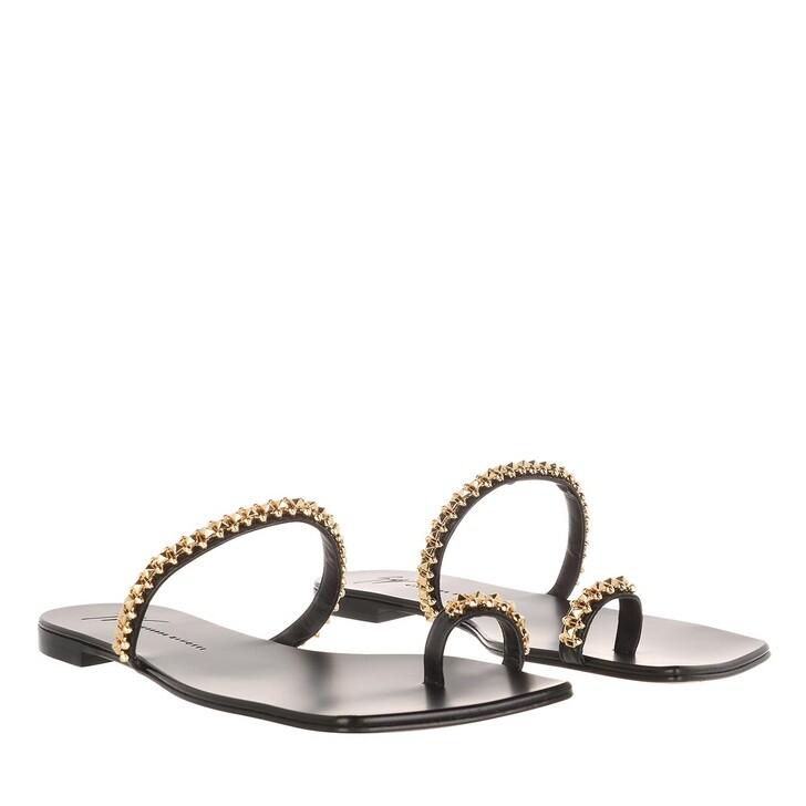 Schuh, Giuseppe Zanotti, Karmen Nero Flat Sandal Black