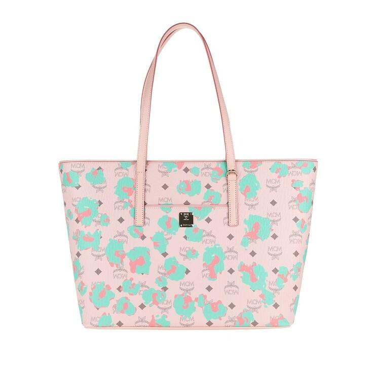 bags, MCM, Anya Floral Leopard Shopping Bag Medium Powder Pink