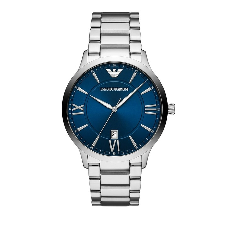 watches, Emporio Armani, Men's Three-Hand Stainless Steel Watch Date Silver