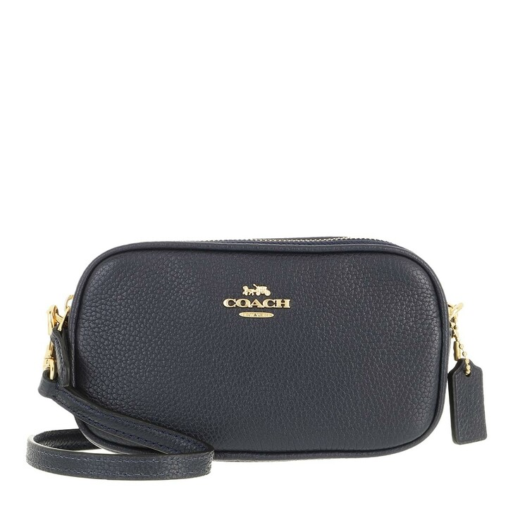 bags, Coach, XBody Pouch Pebbled Leather Light Gold/Navy