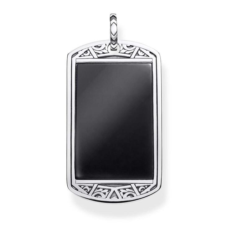 necklaces, Thomas Sabo, Pendant Dog Tag Silver/Black