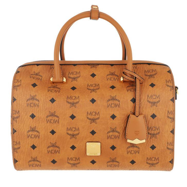 Handtasche, MCM, Essential Visetos Original Boston Cognac