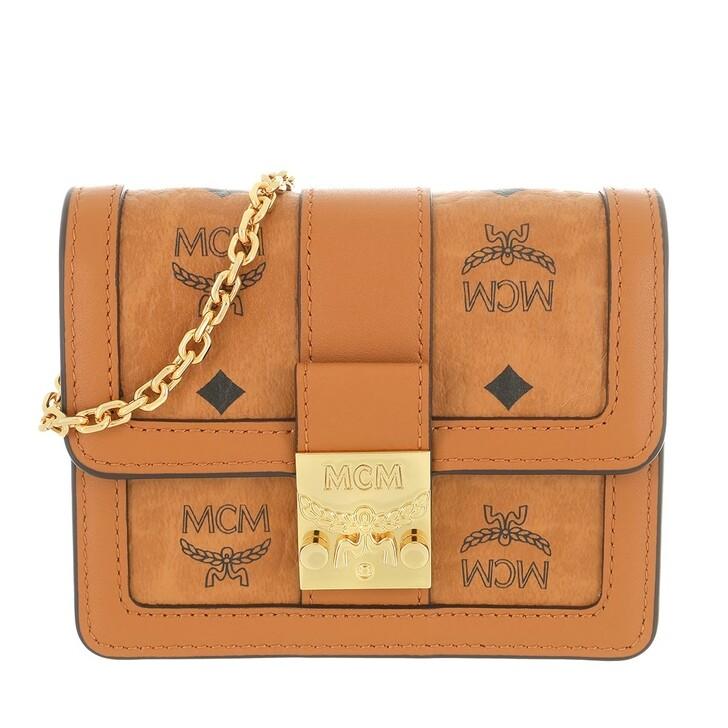 wallets, MCM, Tracy Visetos Card Wallet On Chain Mini Cognac