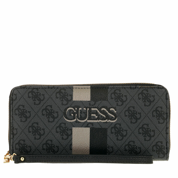 wallets, Guess, Vikky Slg Large Zip Around Coal/Black