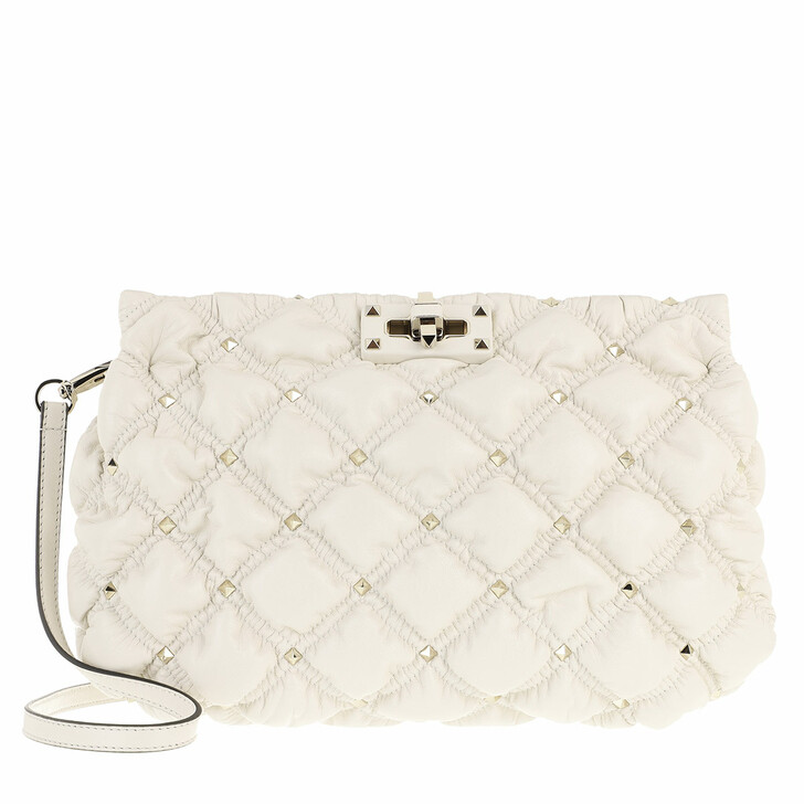 Handtasche, Valentino Garavani, Spike Me Clutch Nappa Leather Light Ivory Light Ivory