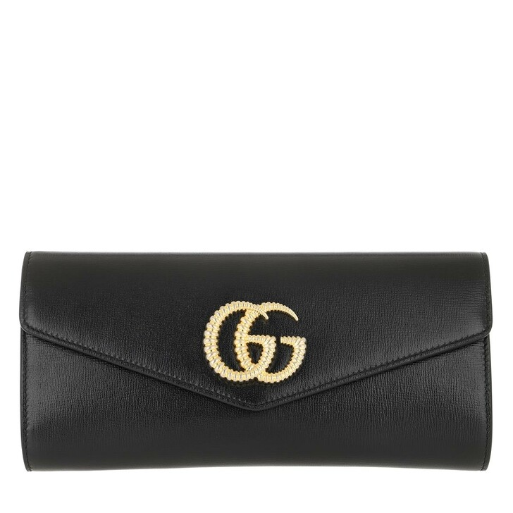 Handtasche, Gucci, Double G Broadway Clutch Leather Black