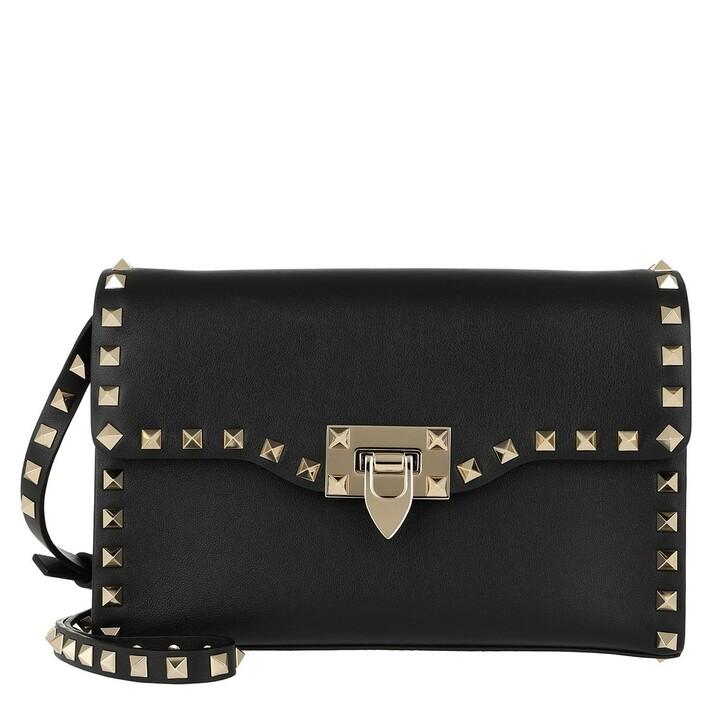 Handtasche, Valentino Garavani, Rockstud Crossbody Bag Small Leather Black Black