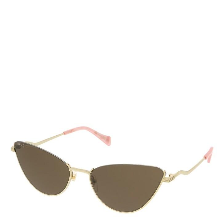 sunglasses, Gucci, GG1006S-002 60 Sunglass Woman Metal Gold-Gold-Brown