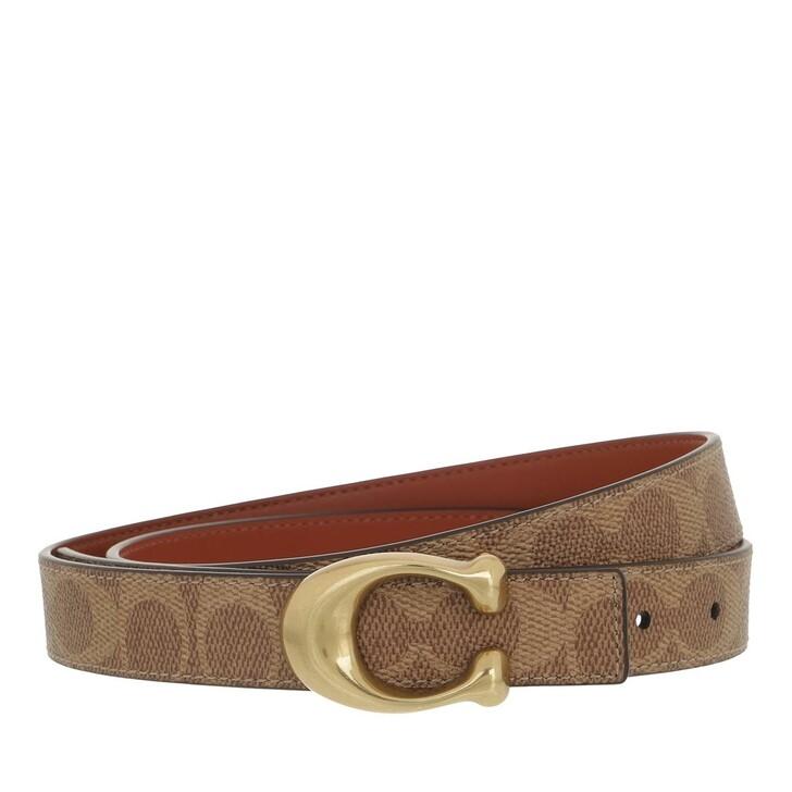 belts, Coach, 25Mm Sculpted C Coated Canvas Reversible Signature B4/Tan Rust