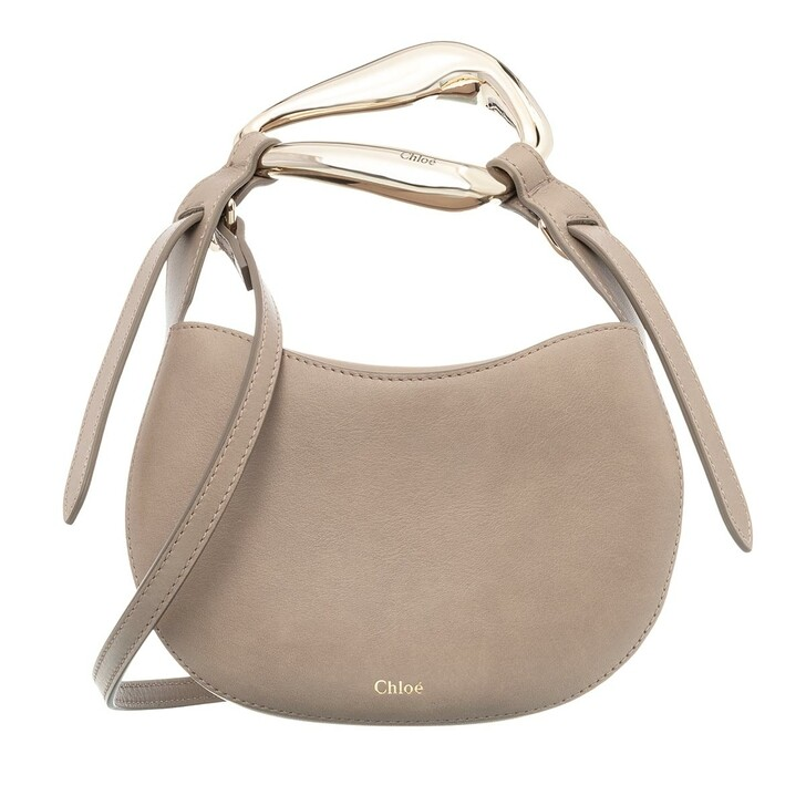 bags, Chloé, Small Kiss Shoulder Bag Grained Leather Motty Grey