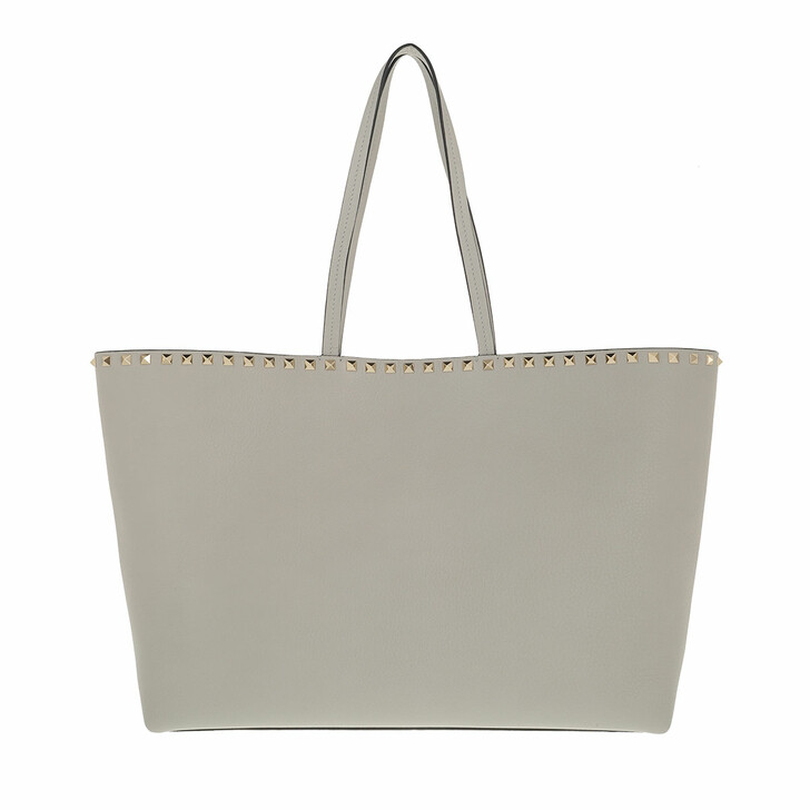 bags, Valentino Garavani, Rockstud Studded Shopping Bag Leather Opal Grey