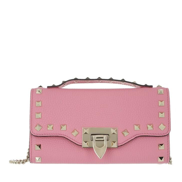 wallets, Valentino Garavani, Rockstud Wallet On Chain Dawn Pink