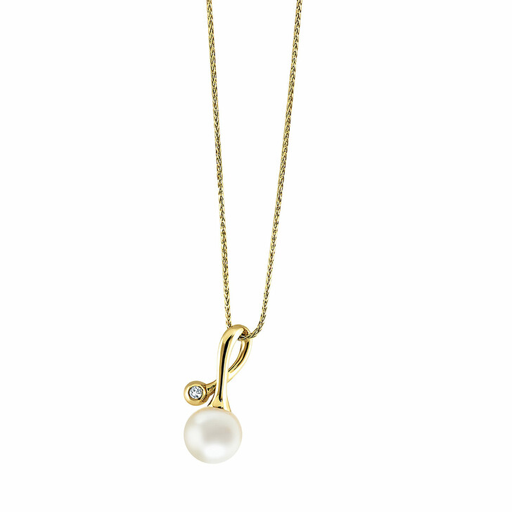 necklaces, BELORO, Pendant/Chain 585 1 Diamond Approx. 0,02 ct. H-Si  Yellow Gold