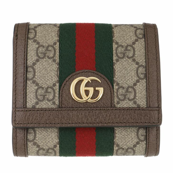 Geldbörse, Gucci, Ophidia French Flap Wallet Beige